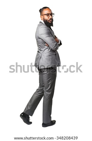 full body business black man backward