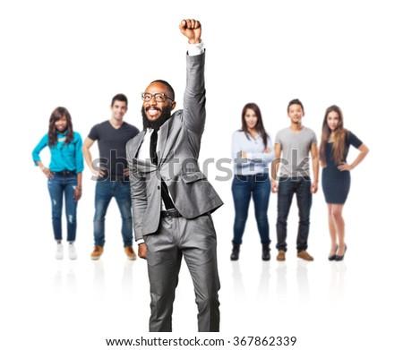 full body business black man doing a winner gesture - stock photo
