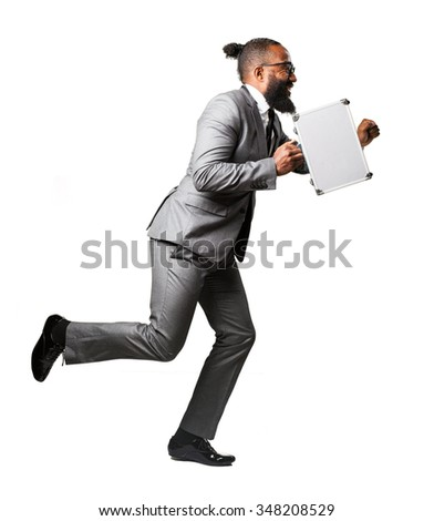 full body business black man runing with a suitcase - stock photo