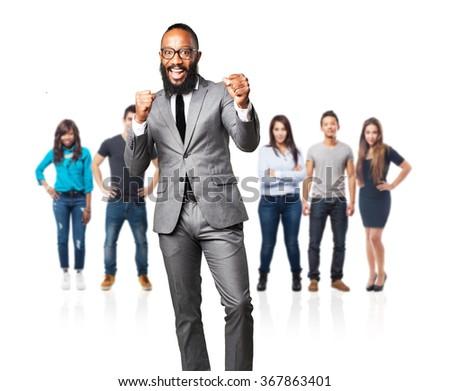 full body business black man winner sign - stock photo