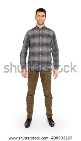 Full body Caucasian man standing isolated on white background - stock photo