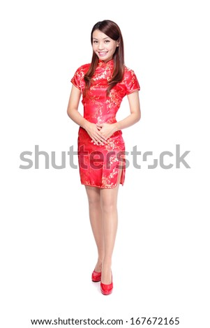 Full body chinese woman in traditional Chinese cheongsam, isolated on white background - stock photo