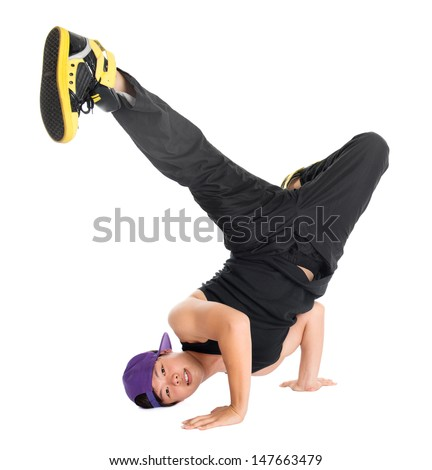 Full body cool looking Asian teen dance hip hop isolated on white background. Asian youth culture. - stock photo