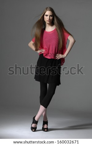 Full body fashion girl fashion model posing in studio - stock photo