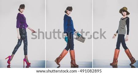 Full body Fashion young three woman Girl with gloves, boots ,hat walking in studio