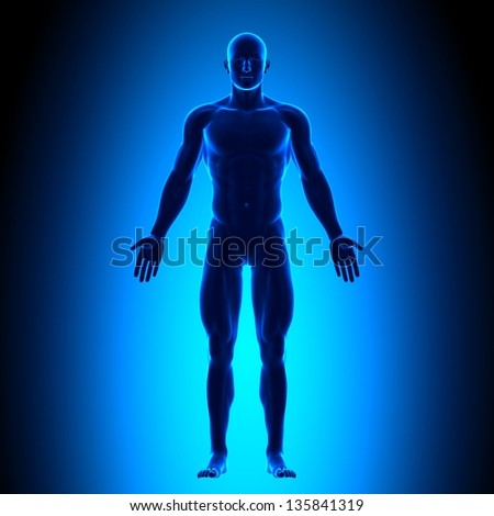 Full Body - Front View - Blue concept - stock photo