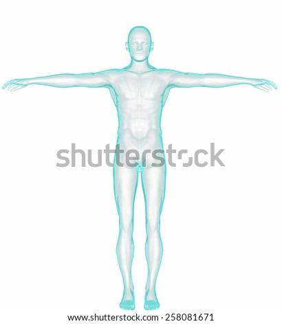 Full Body - Front View - Blue concept, with clipping path - stock photo