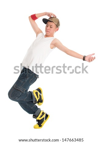Full body funky looking Asian teen hip hop dancer dancing isolated on white background. Asian youth culture. - stock photo