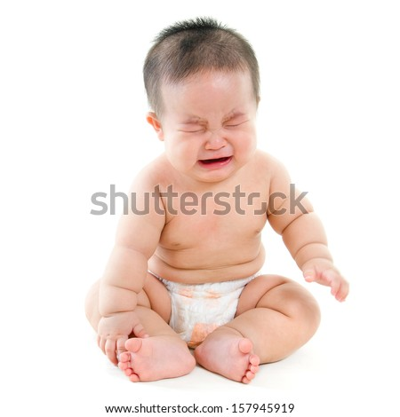 Full body hungry Asian baby boy crying, sitting isolated on white background