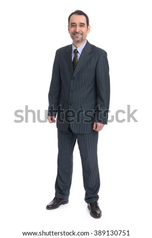 Full body image of mature standing business man wearing dark suit, isolated over white background