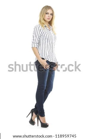Full body Lovely woman in shirt and blue jean, isolated on white - stock photo