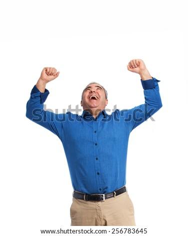 full body mature man celebrating gesture - stock photo