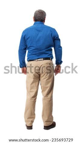 full body mature man standing over white - stock photo