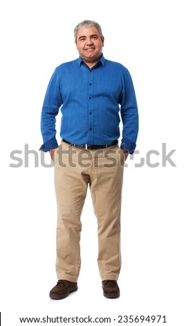 full body mature man standing over white - stock photo