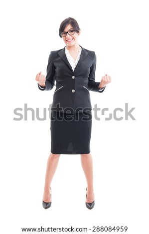 Full body of a business woman celebrating victory and success. Happy and successful businesswoman concept on white background - stock photo