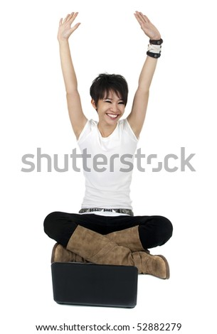 Full body of a happy computer user isolated on white. - stock photo