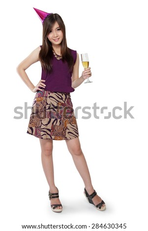 Full body of cute Asian party girl standing pose to camera, isolated on white background