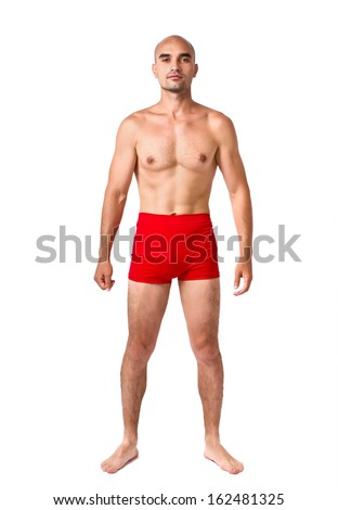Full body of fit muscular man wearing only red underwear. Topless guy isolated on white. - stock photo