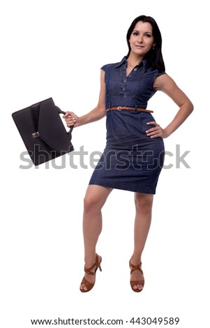 Full body of smiling business woman in dress with portfolio, briefcase, isolated on white - stock photo