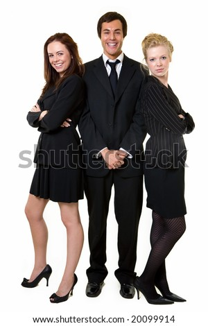 Full body of three business people wearing black business attire attractive women and one man