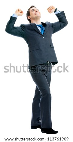 Full body of very happy successful gesturing business man, isolated over white background - stock photo