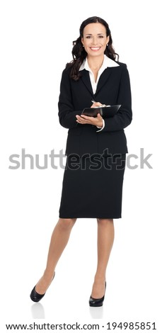 Full body of writing young happy smiling business woman with clipboard, isolated over white background