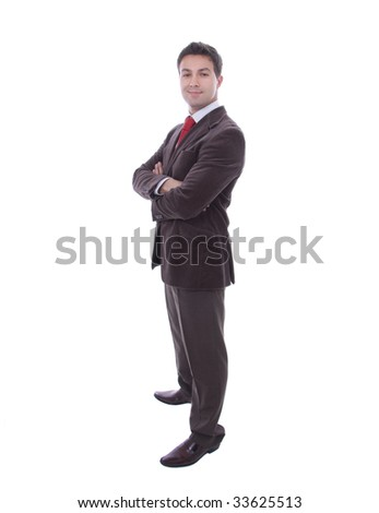 full body of young business man isolated on white background