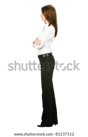 Full body of young business woman, isolated on white background - stock photo