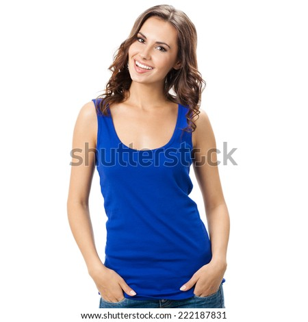 Full body of young cheerful smiling woman, isolated over white background