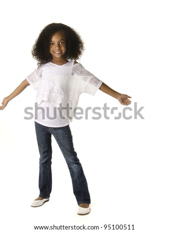 Full body pic of adorable little girl with curly hair - stock photo