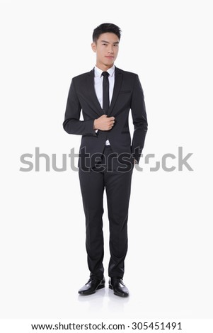 Full body picture of a elegant young man looking at the camera