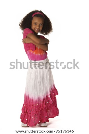 Full body picture of pretty little girl wearing pink skirt.  Image isolated against white background - stock photo
