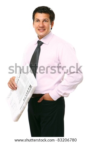 Full-body portrait of a businessman reading newspaper isolated on white background