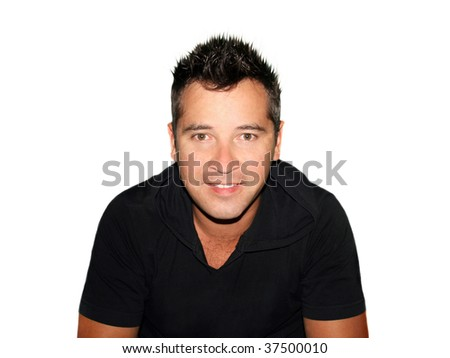 Full body portrait of a casual young man standing against white background - stock photo