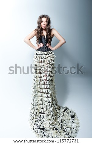 Full-body portrait of a gorgeous tall model - stock photo