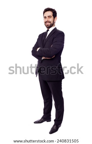Full body portrait of a happy business man, isolated on white background