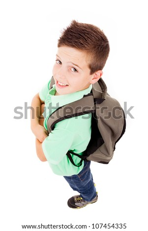Full body portrait of a school boy with backpack, isolated on white background - stock photo