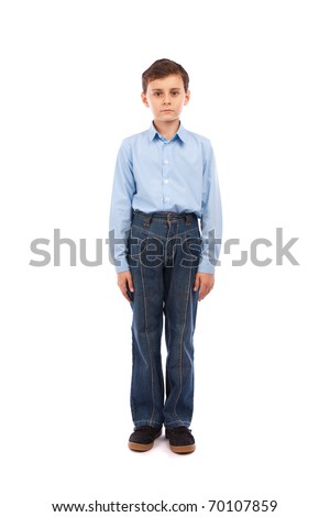 Full body portrait of a schoolboy, isolated on white background - stock photo