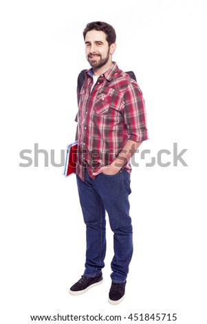 Full body portrait of a smiling student, isolated on white background - stock photo