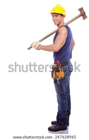 Full body portrait of a smiling worker, isolated on white background - stock photo