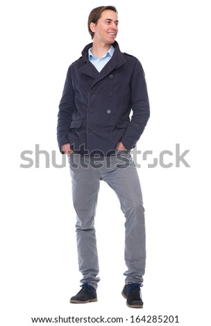 Full body portrait of a smiling young man isolated on white background