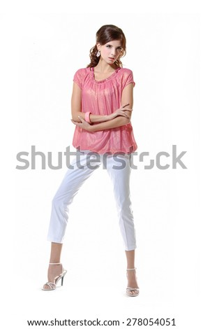 Full body portrait of a young beautiful woman posing on white background - stock photo