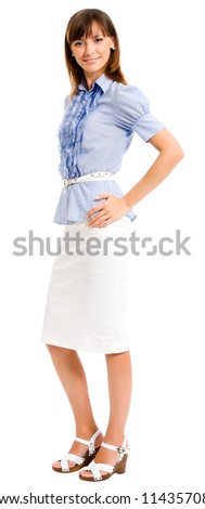 Full body portrait of cheerful smiling business woman, isolated over white background - stock photo