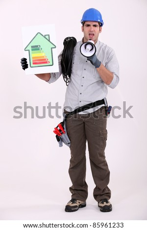 full-body portrait of electrician with loudspeaker - stock photo