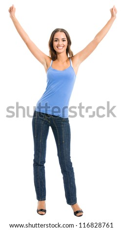 Full body portrait of happy gesturing cheerful smiling woman, isolated over white background - stock photo