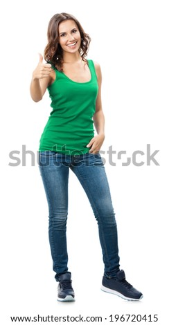 Full body portrait of happy smiling beautiful young woman showing thumbs up gesture, in smart green casual clothing, isolated over white background - stock photo