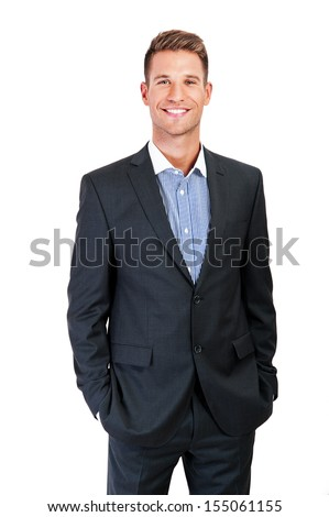 Full body portrait of happy smiling business man, isolated on white background
