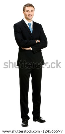 Full body portrait of happy smiling business man, isolated over white background - stock photo