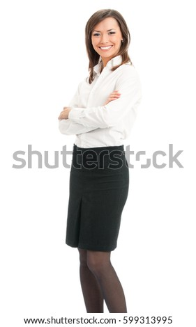 Full body portrait of happy smiling business woman, isolated on white background. Success in business concept.