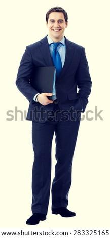 Full body portrait of happy smiling senior businessman with black folder - stock photo